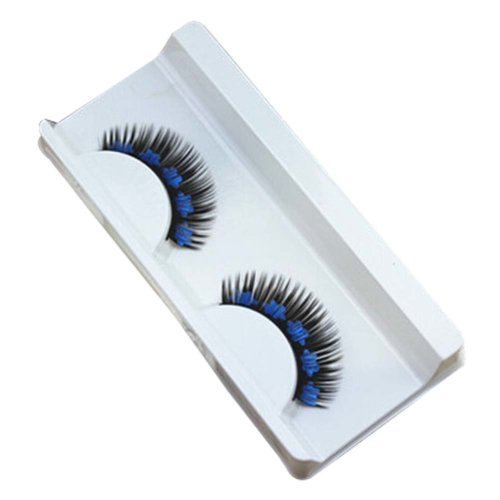 Set of 3 False Eyelashes for Night Club Creative Blue Flower Printing Eyelashes