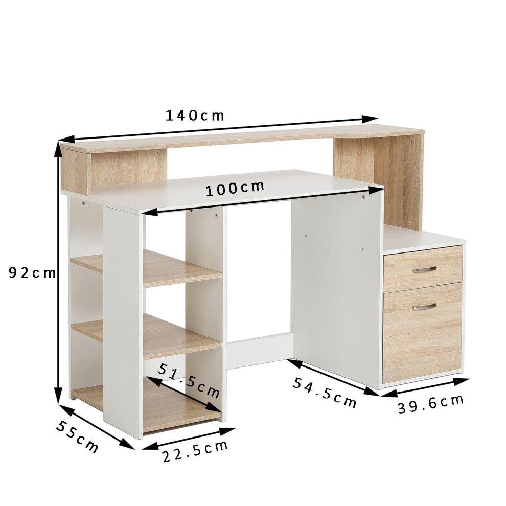 Homcom Wooden Computer Desk Pc Modern Home Office Printer Shelf W Storage 2