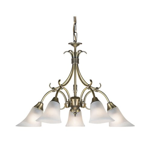 5 Arm Traditional Ceiling Light With Alabaster Glass