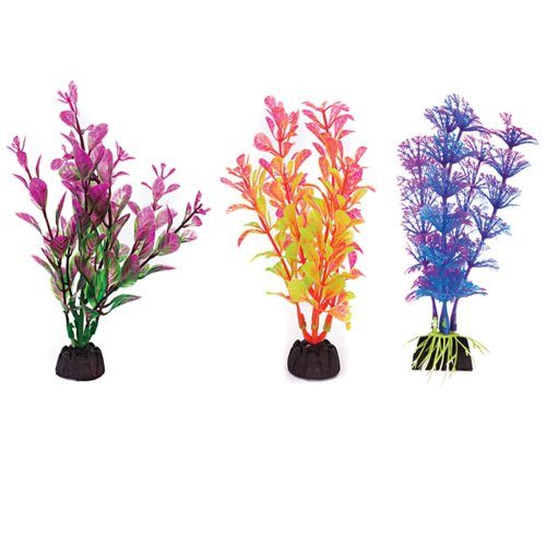 "Plastic Aquarium Plants 4"" Penn Plax, Pack Of 6 Coloured Assorted"