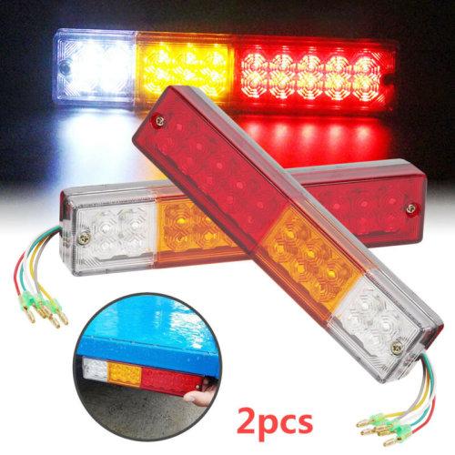 2x12V LED Rear Tail Stop Reverse Lamp Indicator Lights Trailer Caravan Van Truck