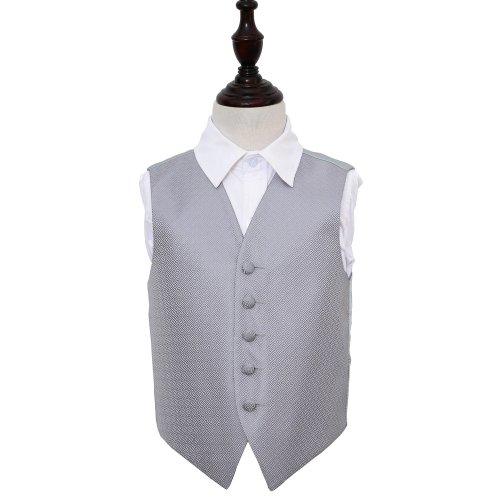 Silver Greek Key Wedding Waistcoat for Boys 24'