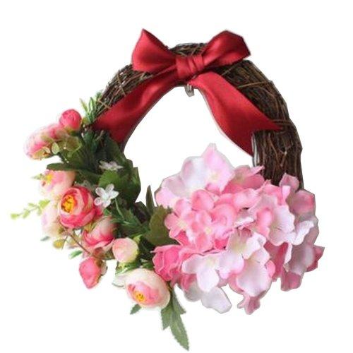 [Red] Artificial Wreath Hanging Rattan Garland Door Wreath Wedding Decor