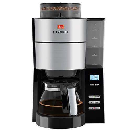 Melitta AromaFresh Grind and Brew, 1021-01, Filter Coffee Machine, Glass Coffee Jug Included, Adjustable Grind Level