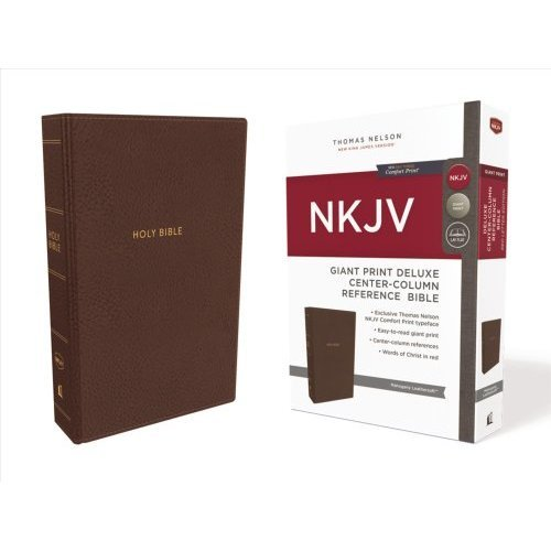 NKJV, Deluxe Reference Bible, Center-Column Giant Print, Leathersoft, Brown, Red Letter Edition, Comfort Print