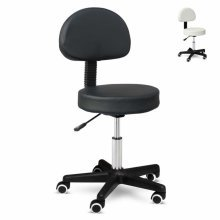 Professional Stool with Wheels Backrest and Adjustable Height LUX