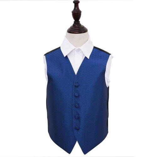 Royal Blue Greek Key Wedding Waistcoat for Boys 24'