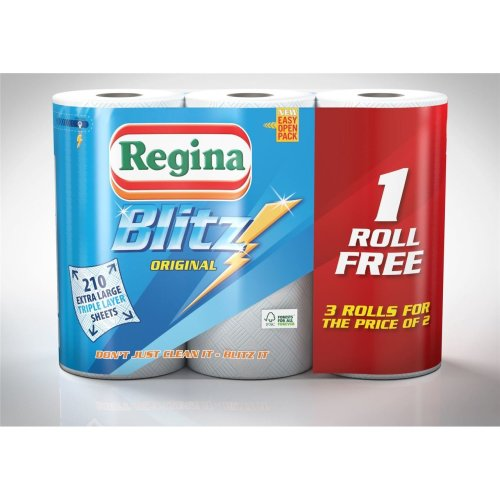 12 Rolls Of Regina Blitz Kitchen Roll Paper Towels Supplies Wholesale Job Lot