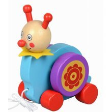 Lovely Wooden Push & Pull Toy Pull-Along Wagon Vehicle Blue
