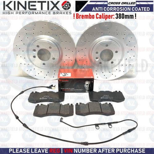 FOR RANGE ROVER 3.0 FRONT DRILLED BRAKE DISCS BREMBO PADS WIRE SENSOR 380mm