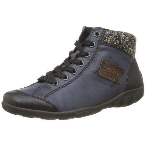 Rieker Women's L65 Hi-Top Sneakers, Blue (Schwarz/Ozean/Terra/Kastanie/06), 6.5 UK