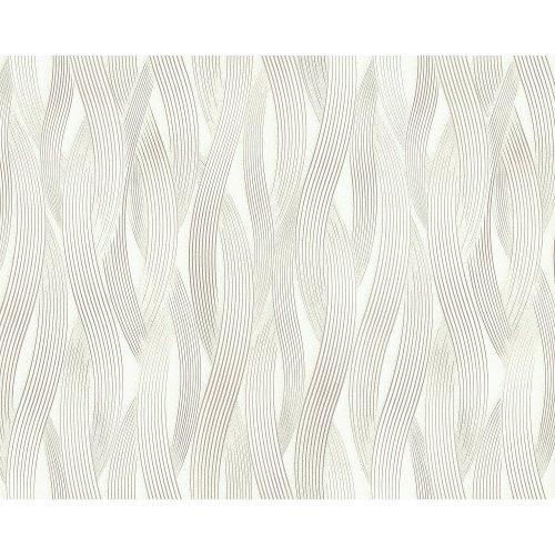 EDEM 81130BR20 Stripes wallpaper metallic highlights cream white 10.65 sqm