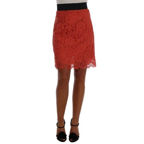 Dolce & Gabbana Orange Macramé Lace Pencil Skirt