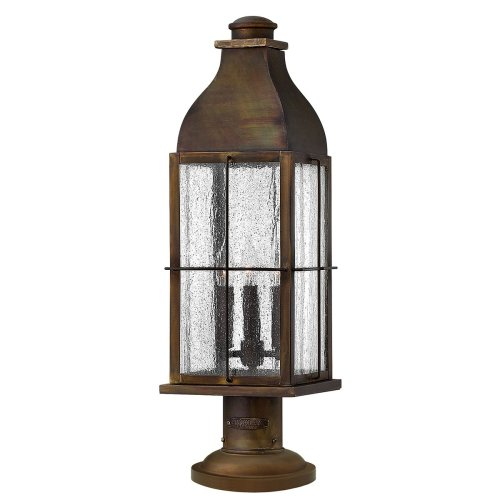 3 Light Outdoor Pedestal In Sienna