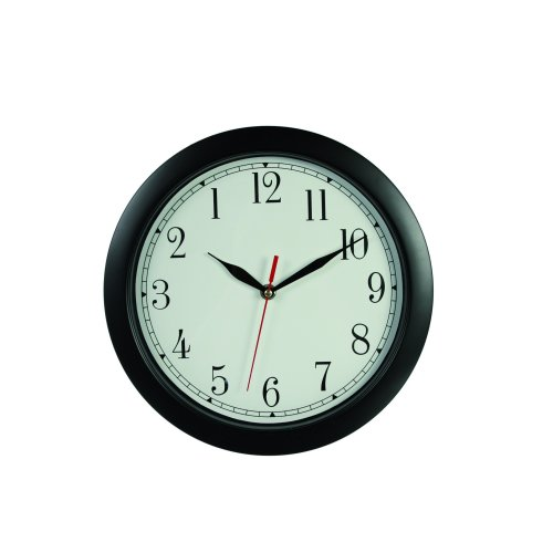 Out of the blue Wall Clock that Operates Anti-Clockwise, Black, 28.9 x 5.0 x 28.6 cm