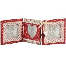 Fabric 3 Way Photo Frame Heart Detail -  fabric 3 way photo frame heart detail
