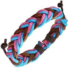 Urban Male 'Skye' Braided Men's Surfer Bracelet in Blue, Pink & Brown Leather & Cord
