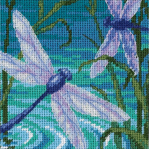 "Dimensions Mini Needlepoint Kit 5""X5""-Dragonfly Pair Stitched In Thread"