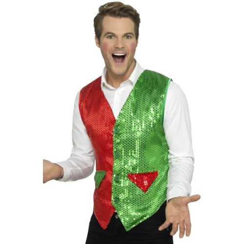 Smiffy's 43133l Sequin Elf Waistcoat (large) -  elf waistcost sequin christmas adults green red fancy dress accessory