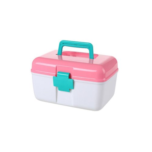The Plastic Two-layer Household medicine chest/Storage Box(Pink)
