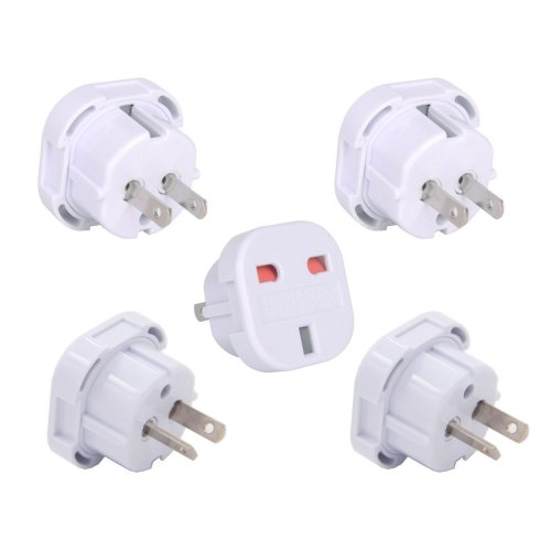 INIBUD UK to USA America AU Australia New Zealand Travel Adapter Pack of 5, White