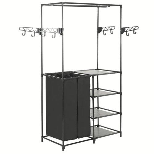 vidaXL Clothes Rack Steel and Non-woven Fabric Black Closet Organiser Stand