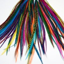 20 LONG BRIGHTS FEATHER HAIR EXTENSIONS KIT: RINGS INCLUDED (B GRADE)