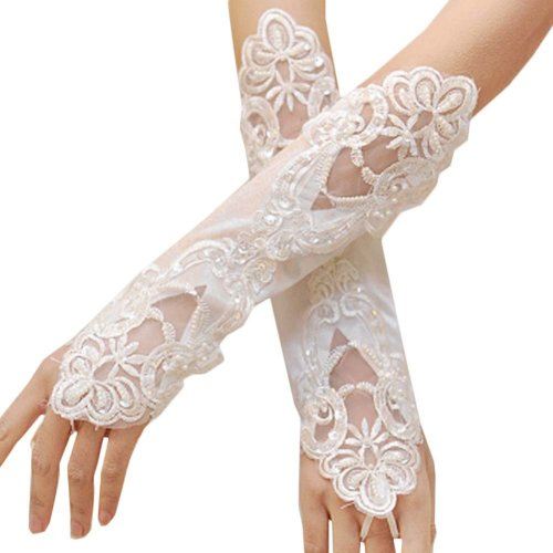 Bridal Wedding Gloves Party Dress Lace Long Gloves A16