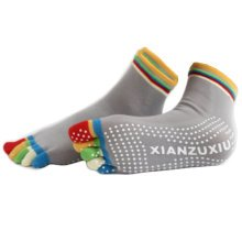 Women's Non Slip Full Toe Yoga Socks With Grip 2 Pairs Set,Rainbow Toe/Grey