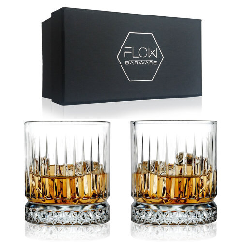 GEO Whiskey Glasses by FLOW Barware, Crystal Clear Geo Design Whisky Tumblers
