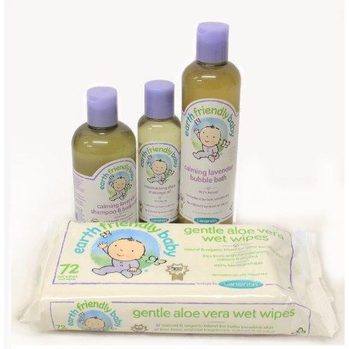 Earth Friendly Baby Bath Set Bundle - Baby Wipes, Massage Oil, Bubble Bath & Bodywash #6351