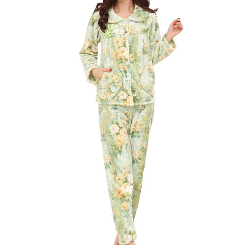 Casual Pajama Set Warm Sleepwear Home Apparel Flannel Pajamas X-large-A3