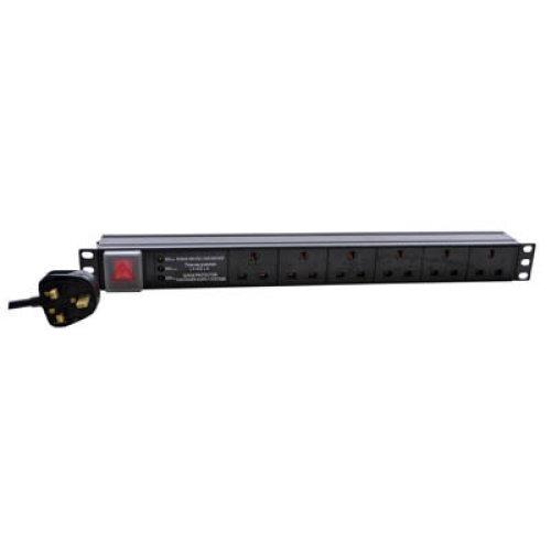 Eagle 6-Way UK Horizontal Socket 19  PDU with 3 Way Surge Protection to UK Plug
