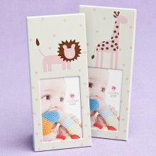 Animal Themed Baby Frames Pink - Giraffe And Lion