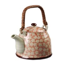 Japanese Style Porcelain Teapot, Plum Blossom 30 OZ, Orange