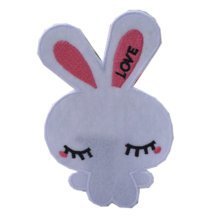 Set of 2 Creative Lovely Rabbit Patches Embroidery Applique WHITE 2.7*4.0""
