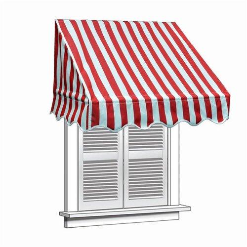 Aleko WAW4X2RWSTR05-UNB 4 x 2 ft. Window Door Canopy Decorator Awning, White & Red