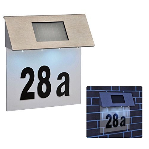 Stainless Steel 4 LED Solar Powered House Door Number Outdoor Wall Paque Light -  solar powered led house door number wall plaque 4 light stainless