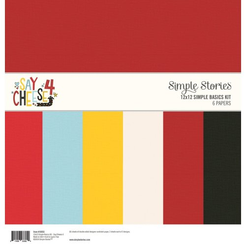 """Simple Stories Basics Double-Sided Paper Pack 12""""X12"""" 6/Pkg-Say Cheese 4, 3 Designs/2 Each"""