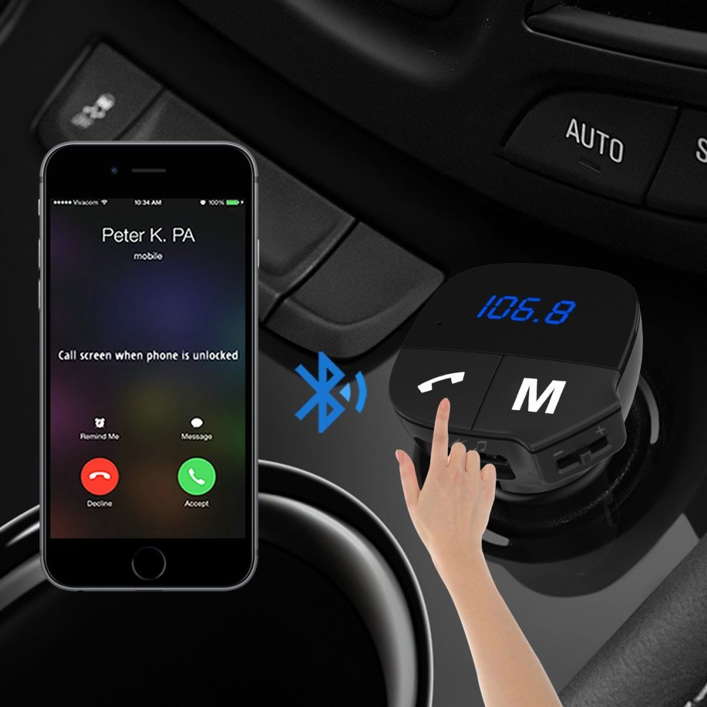 Car FM Transmitter Bluetooth,Wireless In-Car Bluetooth FM