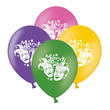 """Mardi Gras Masks  Mix 4 Assorted 12"""" Latex Balloons pack of 20"""