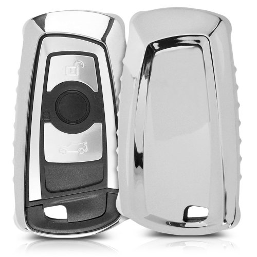 kwmobile BMW Car Key Cover - Soft TPU Silicone Protective Key Fob Cover for BMW 3 Button Remote Control Car Key (only Keyless Go) - Silver High Gloss