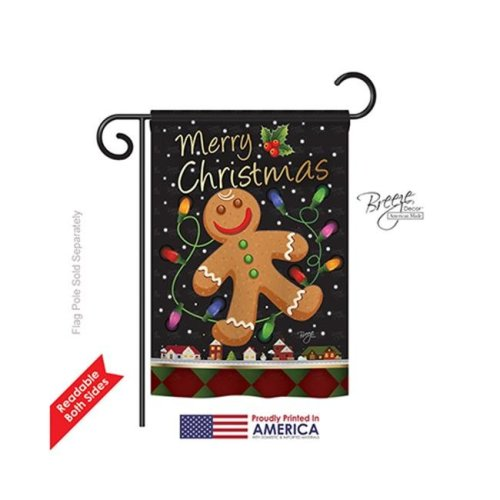 Breeze Decor 64085 Christmas Gingerbread 2-Sided Impression Garden Flag - 13 x 18.5 in.