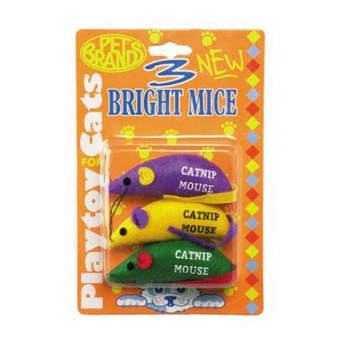 Three Bright Mice Cat Toy With Cat Nip (Pack of 12)