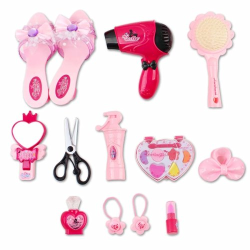 deAO Hairdressing and Vanity Beauty Set with Pretend Makeup Accessories, Shoes and Hairdryer for Kids