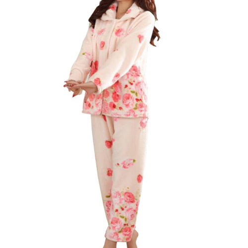 Casual Pajama Set Warm Sleepwear Home Apparel Flannel Pajamas X-large-A13