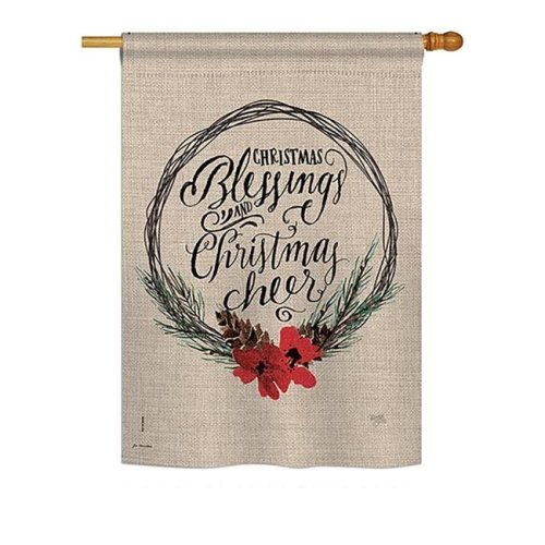 Breeze Decor BD-XM-H-114169-IP-BO-DS02-US Christmas Blessings Winter - Seasonal Christmas Impressions Decorative Vertical House Flag - 28 x 40 in.