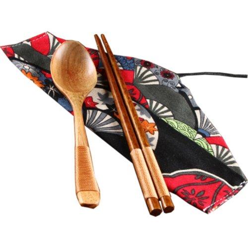 Japaness Kitchen Tableware Dinnerware Flatware Eco friendly Wood Cutlery Wooden Dinner Set #5