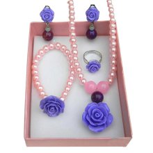 Girl Necklace/Bracelet/Ear Clips/Ring Ornament Set Elegant Purple