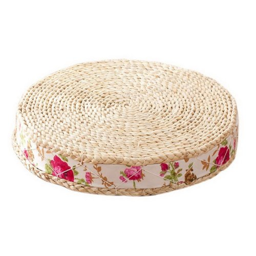 Japanese Style Handcrafted Knitted Straw Seat Cushion 50cm,Red Carving